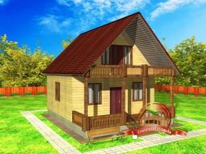Внешний вид проекта дома из бруса с террасой и балконом