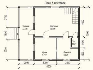 Планировка первого этажа дома из бруса 7 на 8