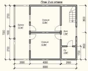 Планировка второго этажа дома из бруса 7 на 8