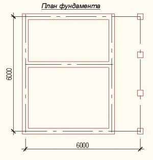 Планировка дома из бруса 6 на 6 метров - фундамент