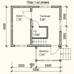 Планировка дома из бруса 4х5 - 1 этаж