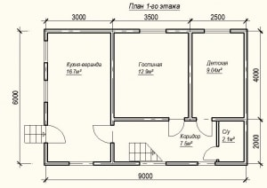 План 1 этажа проекта дома из бруса 6х9