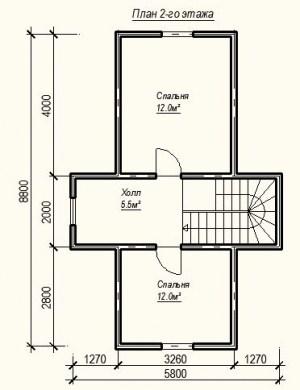 План 2 этажа проекта дома из бруса 5.8 на 8.8