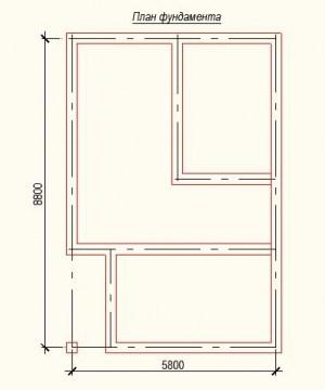 План фундамента проекта дома из бруса 5.8 на 8.8
