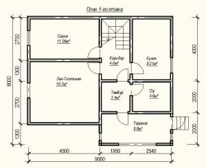План 1-го этажа дома из бруса 8 на 9