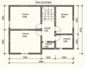 План 2-го этажа дома из бруса 8 на 9