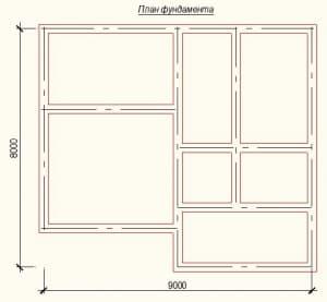 План ленточного фундамента дома из бруса 8 на 9