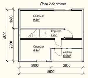 План 2 этажа проекта дома из бруса 7 на 8 метров