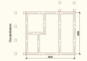 План фундамента проекта дома из бруса 7х8
