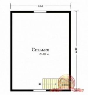 План мансарды брусового дома 6х6