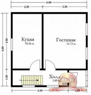 Планировка дома из бруса 6х6