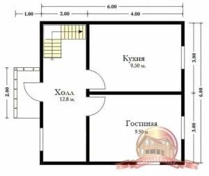 План 1 этажа дома из бруса 6х6