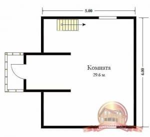 План второго этажа сруба из бруса 6 на 6 с балконом