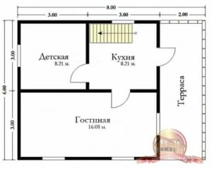 Планировка внутреннего пространства дома из бруса 6 на 8 с террасой
