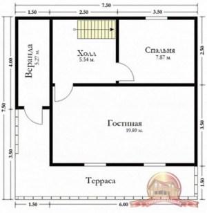 План первого этажа дома из бруса 7.5х7.5 с Г-образной террасой