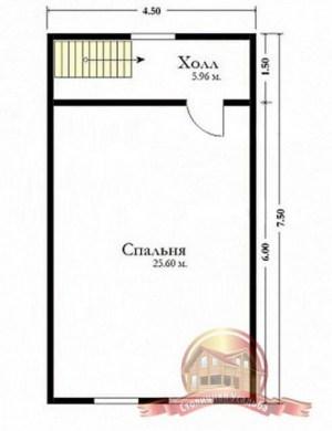 План второго этажа сруба из бруса 7.5 на 7.5