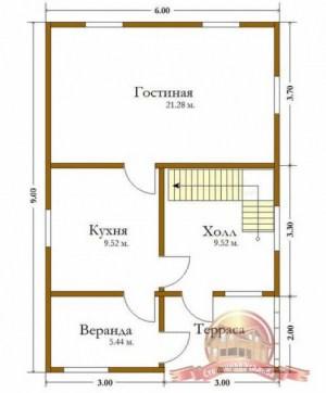 План 1 этажа дома из бруса 6х9 (терраса)