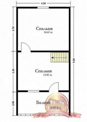 План второго этажа брусового сруба 6 на 9 с балконом и террасой