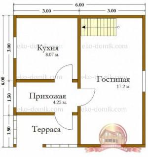 План нижнего этажа сруба из бруса 6х7