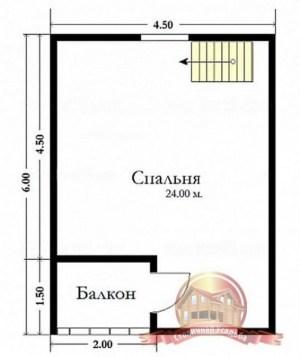 План второго этажа дома из бруса 6х7 с угловым балконом