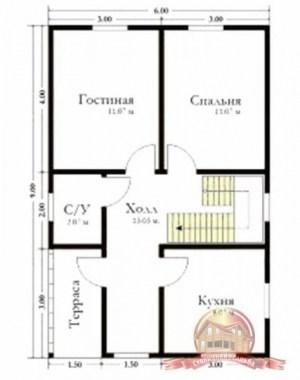 План первого этажа брусового дома с кукушкой 6 на 9