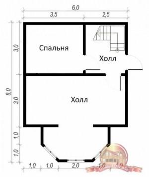 Планировка первого этажа брусового сруба 6 на 8 с эркером