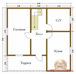 Первый этаж проекта брусового дома 8х8