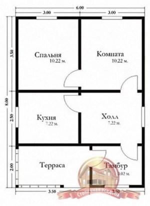 Планировка одноэтажного брусового дома 6х8 с тамбуром