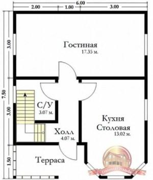 План первого этажа брусового дома 6х7.5 с эркером