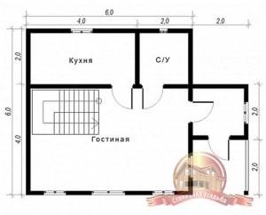 План первого этажа проекта дома из бруса 6х6 с туалетом