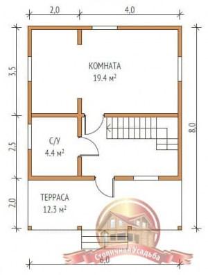 План первого этажа сруба из бруса 6 на 5 с террасой