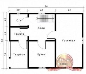 План 1 этажа проекта дома из бруса 6 на 8