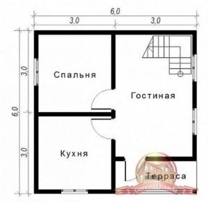 Планировка первого этажа брусового дома 6х6 с балконом