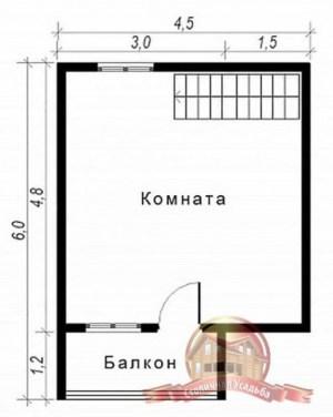 План верхнего этажа сруба из бруса 6х6, виден балкон