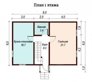 srubПланировка нижнего этажа брусового дома 7 на 7.5