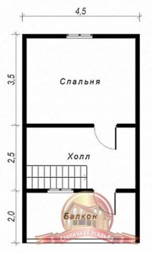 План второго этажа проекта дома из бруса 6 на 8 с балконом