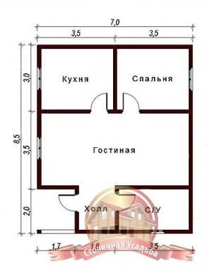 План оригинального сруба дома из бруса в 1 этаж 7х8.5