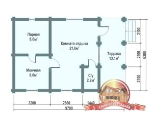 Планирование внутреннего пространства бани из бревна с террасой