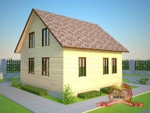Брусовой дом 9х9 с двускатной крышей
