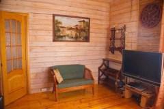 Интерьер гостиной комнаты в стиле охотничьего домика