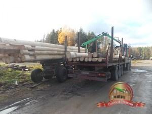 Производим погрузку сруба 8х9 на КАМАЗ для доставки