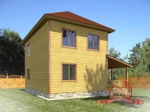 Проект дома из бруса с большими окнами