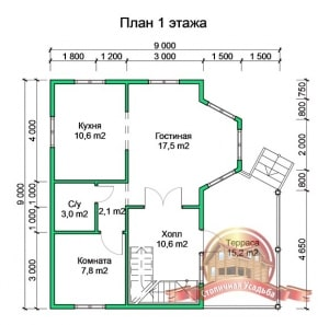 Планировка 1 этажа проекта дома из бруса в два этажа 9х9