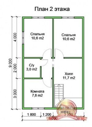 Планировка 2 этажа проекта дома из бруса в два этажа 9х9