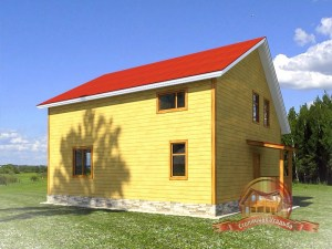 Дом из бруса 10 на 10 с террасой и балконом