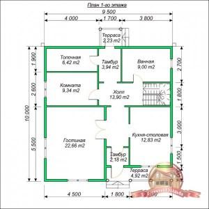 Планировка1 этажа коттеджа из бруса 10х10 с ломаной крышей
