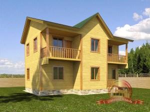 Проект коттеджа 9х10 из бруса с двумя балконами