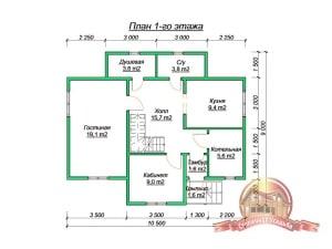 Планировка внутреннего пространства коттеджа из бруса 9х10 с двумя балконами