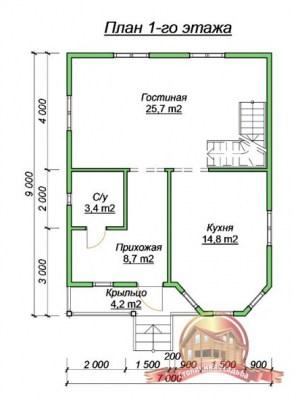 План 1 этажа коттеджа из профилированного бруса 7х9 с эркером и балконом