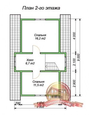 План 2 этажа проекта коттеджа 6х9 из бруса для узкого участка